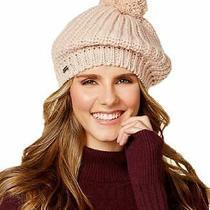 New Steve Madden Women's Blush Ribbed Knit Pompom Beret Hat One Size Photo