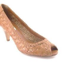 New Steve Madden Women Weaved Brn Leather High Heel Pump Peep Toe Shoe Sz 9 M  Photo