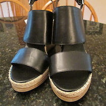 New Steven by Steve Madden Black Leather Wedge Heels Womens Sz 9.5 9 1/2 - New Photo