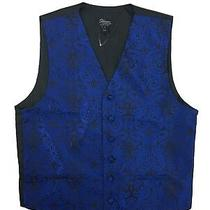 New Steven Land Men's Size Small Blue Black Geometric Design Button Vest  Photo