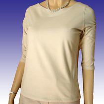 New Stretch Cotton Boat Neck Top M by Womyn 3/4 Sleeve Knit in Blush - Blouse Photo