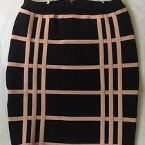 New Stretta Valerie Skirt Sz Medium M S Bllack Blush Pink Fitted Bandage Stretch Photo