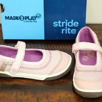 New Stride Rite Pink Mary Jane Sneakers Sz 9.5 W Wide Girls Shoes Jill Blush Photo