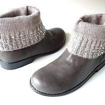 New Stuart Weitzman 'Cozy' Grey Jeweled Knit Cuff Ankle Boots 5 - Gorgoeus Photo