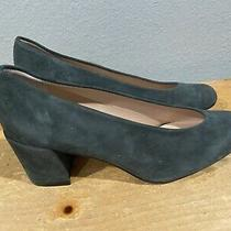 New Stuart Weitzman Keyhole Gray Suede Block Heel Dress Pumps Size 5.5 M Nwob Photo