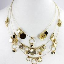 New style&co. Necklace Gold-Tone Gold-Tone Beaded and Shaky Disc 4 Row Illusi Photo