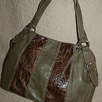 New Style & Co Purse Handbag Shoulder Green Brown Leather Like  Photo