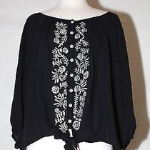 New Style & Co Sz M Black Mother of Pearl Button Down 3/4 Sleeve Dress Top Shirt Photo
