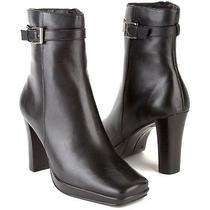 New Style & Co Women Black Leather Mid Calf Side Zip High Heel Boot Shoe Sz 10 M Photo