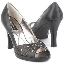 New style&co Women Leather Blk Pump High Heel Open Toe Sandal Dress Shoe Sz 9 M Photo