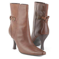 New Style & Co Women Leather Mid-Calf High Heel Side Zip Pointy Toe Boots Sz 8 M Photo