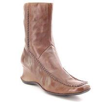 New style&co Women Leather Mid Calf Side Zip Winter Wedge Heel Dress Boot Sz 8 M Photo