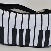 New Stylish Trendy Piano Keys Printed Mini Handbag Purse Clutch Hobo Black Bag Photo