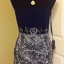 New Sue Wong Navy Platinum Short Ribbon Sequins Cocktail Formal Evening Dress 4 Photo