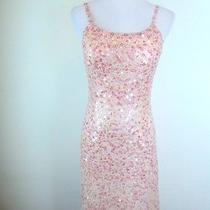 New Sue Wong Nocturne 100% Silk Solid Blush Pink Sequin Beaded Cocktail Dress 2 Photo