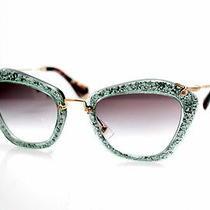 New  Sunglasses Miu Miu Noir Mu 10ns Tka1e0 Green Glitter Cat-Eye Photo