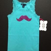 New Super Cute Girls Sz8 Aqua Mustache Designed Tank Top  a Must See Free Ship Photo