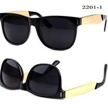 New Super Dark Modern Sunglasses Wayfarer Mens Womens Gold Temples Photo