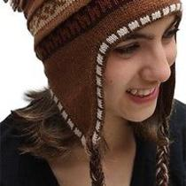 New Superfine 100% Alpaca Wool Chullo Ethnic Hat Hippie Boho Earflap 7226 Camel Photo