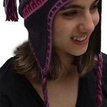 New Superfine 100% Alpaca Wool Chullo Ethnic Hat Hippie Boho Earflap 7234 Purple Photo
