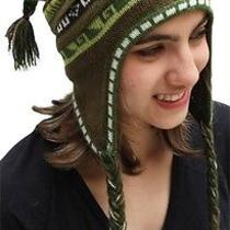New Superfine 100% Alpaca Wool Chullo Ethnic Hat Hippie Boho Earflap 7225 Greeen Photo