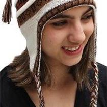 New Superfine 100% Alpaca Wool Chullo Ethnic Hat Hippie Boho Earflap 7182 Ivory Photo