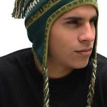 New Superfine 100% Alpaca Wool Chullo Ethnic Hat Hippie Boho Earflap 7237 Green Photo
