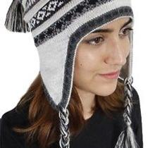 New Superfine 100% Alpaca Wool Chullo Ethnic Hat Hippie Boho Earflap 8133 Silver Photo