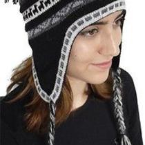 New Superfine 100% Alpaca Wool Chullo Ethnic Hat Hippie Boho Earflap 8211 Black Photo