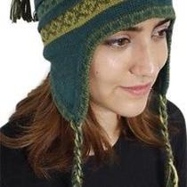 New Superfine 100% Alpaca Wool Chullo Ethnic Hat Hippie Boho Earflap 8224 Green Photo