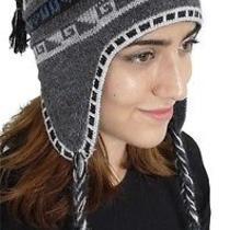 New Superfine 100% Alpaca Wool Chullo Ethnic Hat Hippie Boho Earflap 8131 Gray Photo