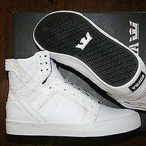 New Supra Skytop White Croc White Skate  Bmx Rap Snow Hip Hop Sports Shoes 9.5 Photo