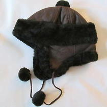 New Surell Aviator/trapper Fur Unisex Hat Brown/black Photo