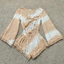 New Surf Gypsy White Blush Romper Swim Cover Up Tie Dye Jumpsuit M Medium Photo