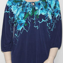 New Susan Graver 3/4 Sleeve Printed Tunic W/ Key Hole Detail Aqua/3x Photo