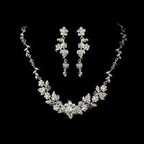 New Swarovski Crystal & Pearl Floral Bridal Jewelry Set Ne 1320 Photo