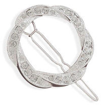 New Swarovski Crystal Silver Plated Crystal Open Circle Fashion Barrette  Photo