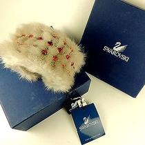 New Swarovski Crystals Fox Fur Cuff Bracelet Bangle Made in Italy Free Sh Usa Photo