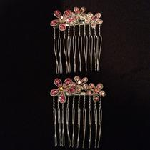 New Swarovski Hair Combs With Pink Colored Crystals (Pair) Photo