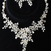 New  Swarovsky Crystal & Freshwater Pearl Floral Bridal Wedding Necklace Set  Photo