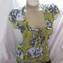 New Sweet Pea Floral Long Length Blouse/top Size Mediumfree Shipping Photo