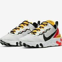 New Sz 12 Men's Nike React Element 55 Running White Bright Crimson Bq6166 102 Photo