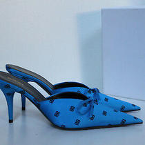 New Sz 6 / 36.5 Balenciaga Royal Blue Logo Satin Bow Pointed Toe Mule Pump Shoes Photo