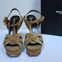 New Sz 6 / 36 Ysl Yves Saint Laurent Tribute Tan Suede Platform Sandal Shoes Photo