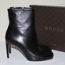 New  Sz 7.5 / 37.5 Gucci Black Leather Contoured Heel Classic Ankle Boots Shoes Photo