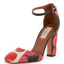 New Sz 7.5 / 37.5  Valentino Polka Dot Ankle Strap d'orsay Leather Pump Shoes Photo