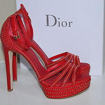 New Sz 8 / 38 Christian Dior Bracelet Red W/ Gold Stud Platform Sandal Shoes Photo