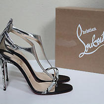 New Sz 8 / 38 Christian Louboutin Athena Alta T Strap Black Patent Sandal Shoes Photo