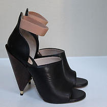 New  Sz 8 / 38 Givenchy Black Leather Cone Wood Heel Ankle Sandal Shoes Photo