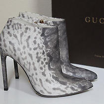 New  Sz 8.5 / 38.5 Gucci Gloria Snake Gray Animal Print Leather Ankle Boots Shoe Photo